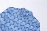 Conjunto de legging y camisa sexy ajustada azul con estampado de otoño