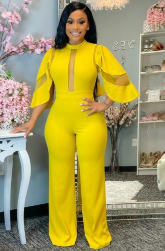 Autumn Formal Yellow Patch Sexy Jumpsuit
