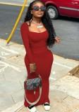 Vestido ajustado largo cuadrado rojo informal de otoño
