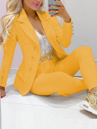 Sonbahar Sarı Devirme Yaka Profesyonel Blazer ve Pantolon Takım