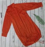 Otoño rojo con cordones dobladillo alto bajo blusa suelta vestido