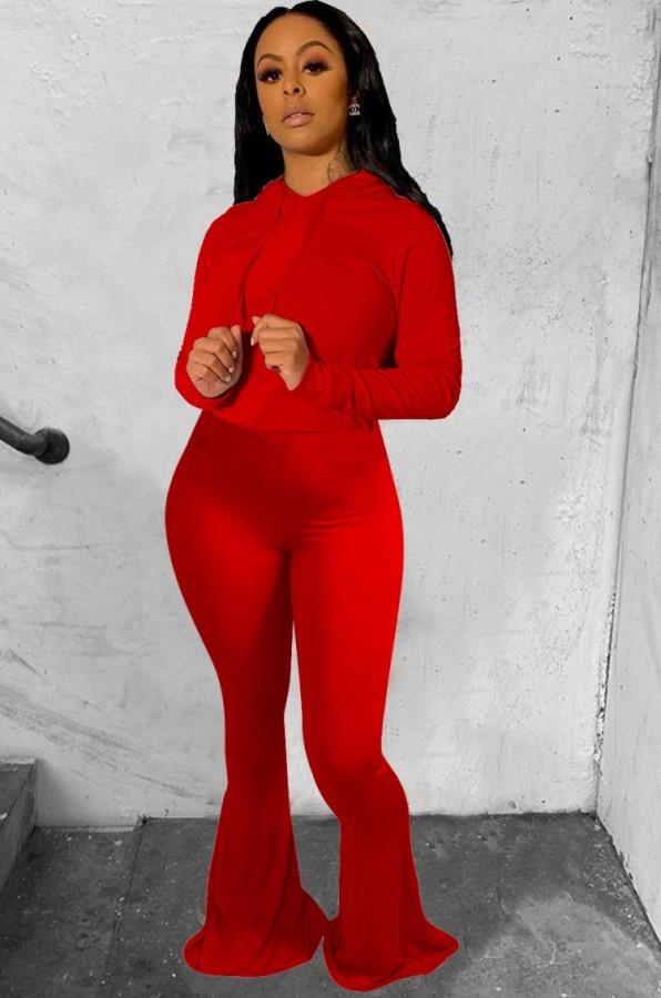 Conjunto de pantalones de campana y top con capucha liso rojo otoño