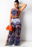 Summer Print Hollow Out Sleeveless Bodysuit and Slit Pants Set