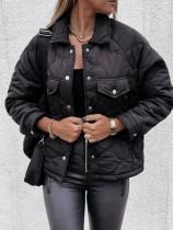 Winter Schwarze Jacke mit Umlegekragen und Taschen