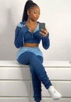Autumn Contrast Color Cut Out Hoody Crop Top and Stacked Pants Set