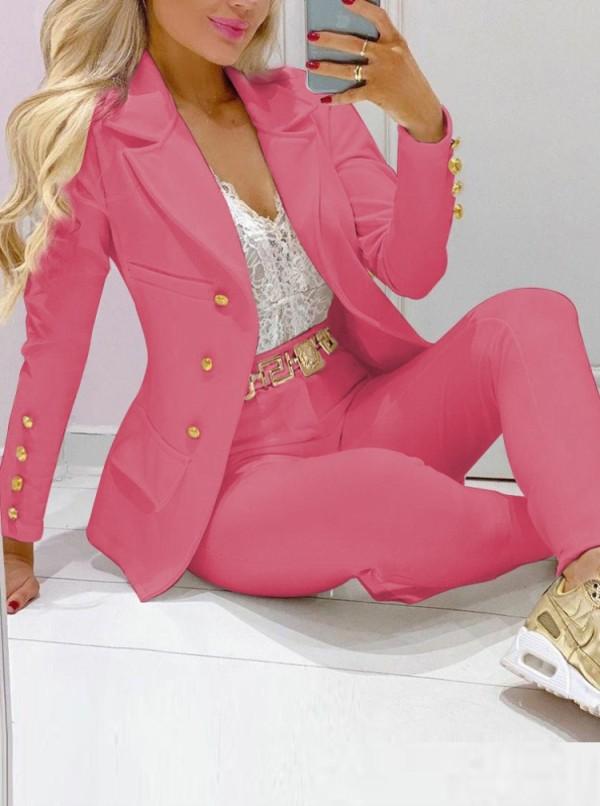 Traje de chaqueta y pantalón profesional con cuello de cobertura rosa otoñal