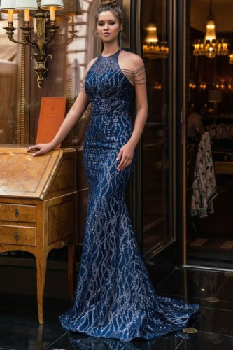 オータムブルースパンコールスクープネックマーメイドイブニングドレス