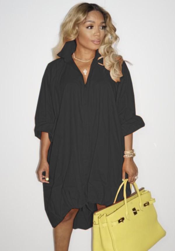 Otoño negro con cordones dobladillo alto bajo blusa suelta vestido