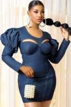 Herbst Sexy Cut Out Puffärmel Blaues Denim Bodycon Kleid