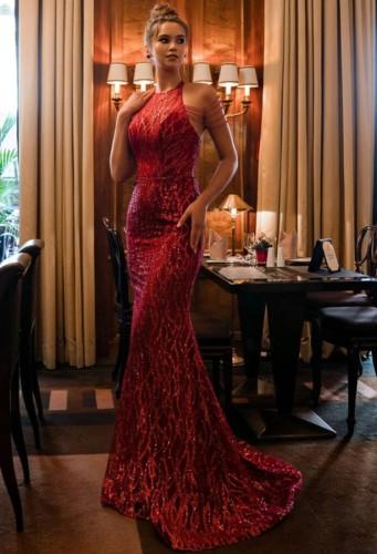 秋の赤いスパンコールスクープネックマーメイドイブニングドレス