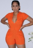 Summer Orange Turndown Collar Short Sleeves Tight Rompers with Pockets
