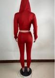 Otoño de dos piezas que hace punto rojo con capucha y pantalones de chándal