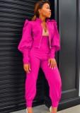 Conjunto de chaqueta de manga abullonada de color rosa liso liso de otoño y pantalones de cintura alta