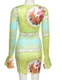 Mini vestido de club con cordones sexy verde con estampado de otoño