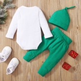 Conjunto de tres piezas navideñas con estampado de bebé niño