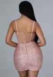 Zomer formele roze lovertjes band wrap mini club jurk