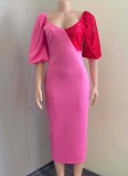 Vestido a media pierna con cuello en V y manga abullonada con parche de encaje rosa formal de otoño