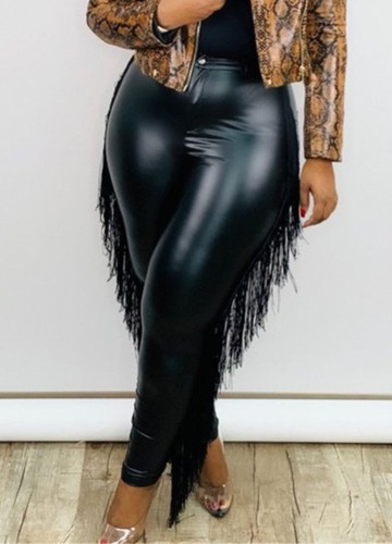 Kış Büyük Beden Siyah Püsküllü Dar Deri Pantolon