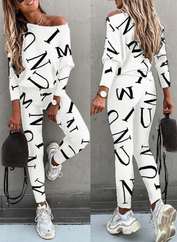 Conjunto de 2 piezas de camisa y pantalones casuales blancos con estampado de letras otoñales