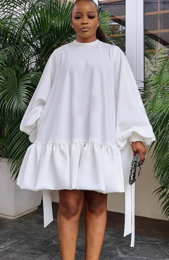 Herbst Casual Weiß A-Linie Puffärmel Rundhals Kurzes Kleid
