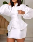 Conjunto de 2 piezas de minifalda y top de peplum con manga abullonada blanca formal de otoño