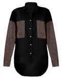 Blusa suelta de manga larga negra con estampado de leopardo de otoño