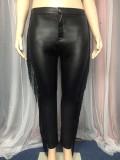 Pantalones de cuero ajustados con borlas negras de talla grande de invierno