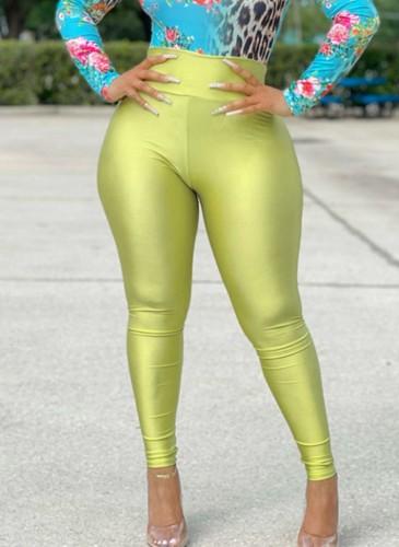 Leggings básicos de cintura alta verde otoño