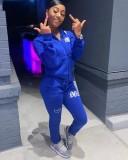 Winter Plus Size Print Blauw Hoodies Rits Trainingspak