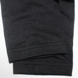 Vestido camisero con cuello en O negro con cordones con estampado de labios de otoño
