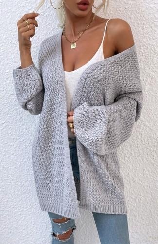 Cardigans longs en tricot gris d'automne à manches longues