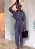 Winter Blue Fleece Hoodies Top and Pants 2pc Set
