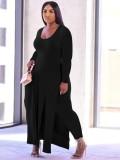 Conjunto de 2 piezas de camisa larga con abertura lateral negra y pantalones a juego de talla grande de otoño