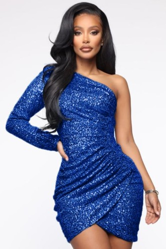 秋のフォーマルスパンコールブルーシングルスリーブラップクラブドレス