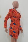 Herbst-Print Orange Umlegekragen Afrika Blazer