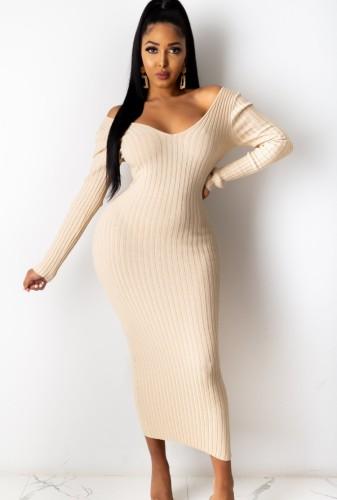 Winter beige gebreide v-hals lange bodycon jurk