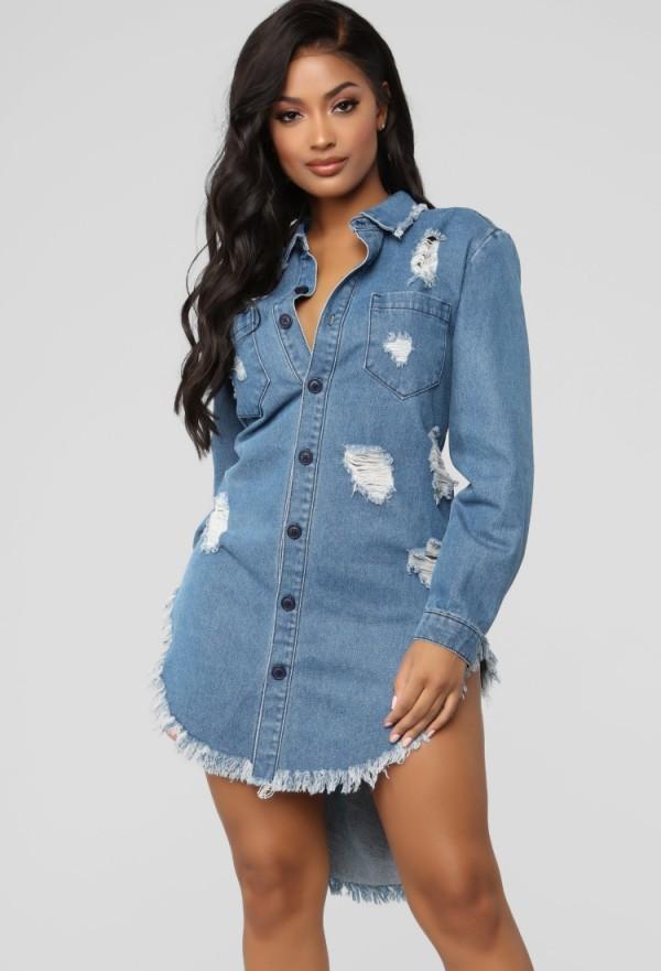 Chaqueta de mezclilla de jeans largos y altos con flecos y botones informales de otoño