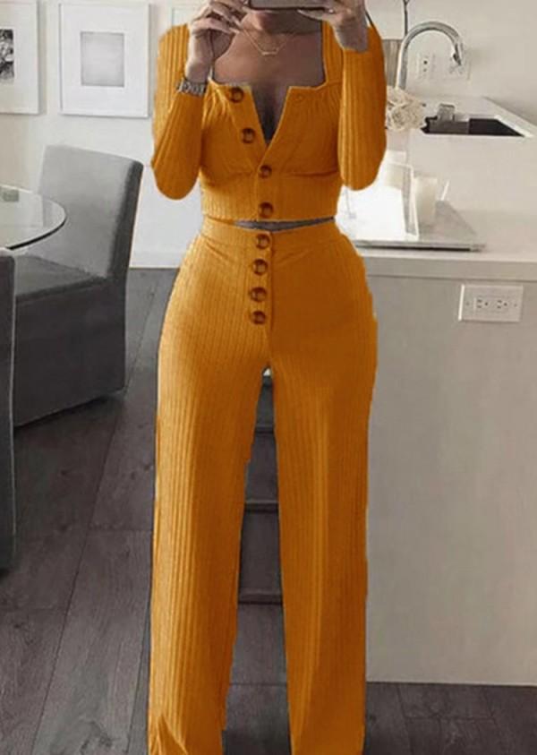 Conjunto de 2 piezas de pantalón de cintura alta y top corto de canalé naranja otoñal