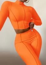 Herbst Orange geripptes Rollkragen Crop Top und Hose 2er Set