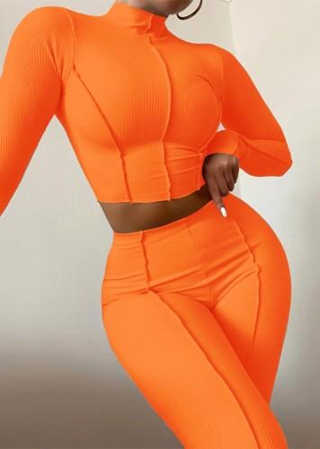 Autumn Orange Ribbed Turtleneck Crop Top and Pants 2pc Set