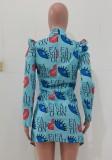 Herbst-Print Blauer Umlegekragen Africa Blazer