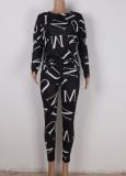 Conjunto de 2 piezas de camisa y pantalones casuales negros con estampado de letras otoñales