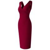 Sommer V-Ausschnitt ärmelloses Bleistiftkleid mit hoher Taille Rot