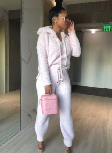 Winter witte fleece hoodies top en broek 2-delige set