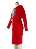Herbst-Lippendruck-Kordelzug Rotes Hemdkleid mit O-Ausschnitt