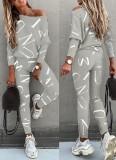 Conjunto de 2 piezas de camisa y pantalones casuales grises con estampado de letras otoñales