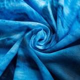 Minivestido de manga simple azul con estampado de fiesta de otoño