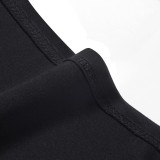 Sommer V-Ausschnitt ärmelloses Bleistiftkleid mit hoher Taille Schwarz