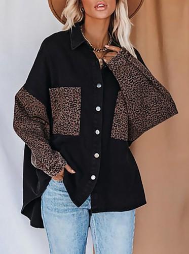Herfst luipaardprint zwarte losse blouse met lange mouwen