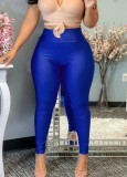 Herbstblaue Basic-Leggings mit hoher Taille